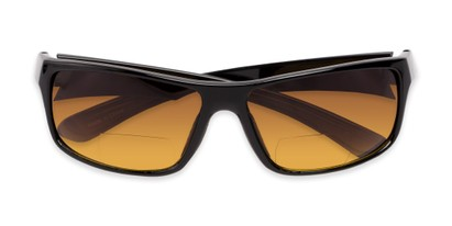 Folded of The Gordon High Density Bifocal Driving Reader in Black with Amber