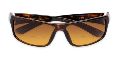 Folded of The Gordon High Density Bifocal Driving Reader in Tortoise with Amber