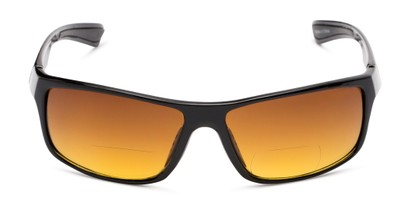 Front of The Gordon High Density Bifocal Driving Reader in Black with Amber