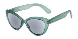 Angle of The Greer Reading Sunglasses in Dark Matte Green, Women's Cat Eye Reading Sunglasses