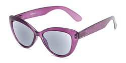 Angle of The Greer Reading Sunglasses in Matte Purple, Women's Cat Eye Reading Sunglasses