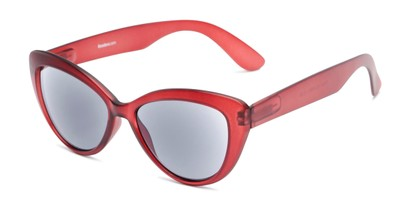 Angle of The Greer Reading Sunglasses in Dark Matte Red, Women's Cat Eye Reading Sunglasses