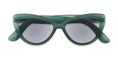 Folded of The Greer Reading Sunglasses in Dark Matte Green