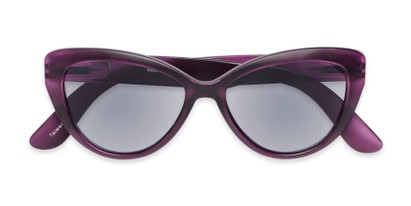 Folded of The Greer Reading Sunglasses in Matte Purple