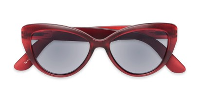 Folded of The Greer Reading Sunglasses in Dark Matte Red