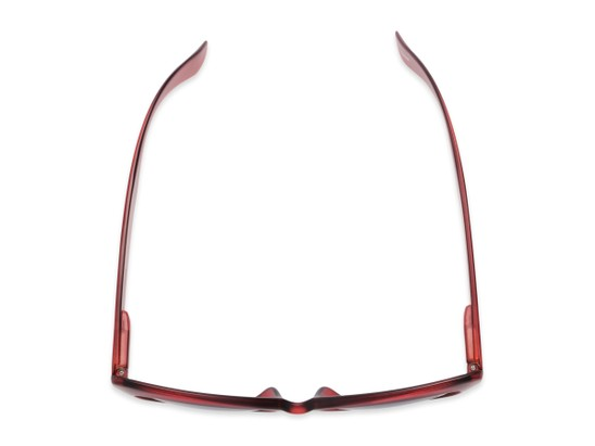 Overhead of The Greer Reading Sunglasses in Dark Matte Red