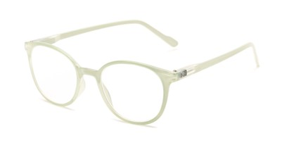 Angle of The Gretel in Mint Green, Women's Round Reading Glasses