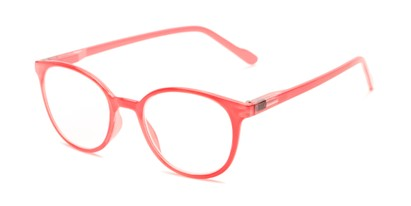 Angle of The Gretel in Strawberry Pink, Women's Round Reading Glasses