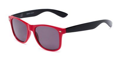 Angle of The Guthrie Reading Sunglasses in Red/Black with Smoke, Women's and Men's Retro Square Reading Glasses