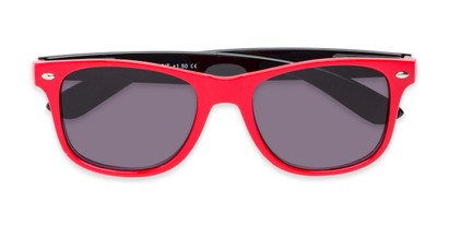 Folded of The Guthrie Reading Sunglasses in Red/Black with Smoke