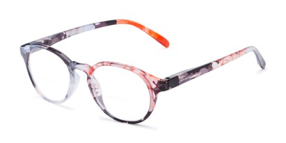 Angle of The Gwendolyn Bifocal in Glossy Floral, Women's Round Reading Glasses