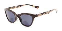 Angle of The Hale Bifocal Reading Sunglasses in Black/Tortoise with Smoke, Women's Cat Eye Reading Sunglasses