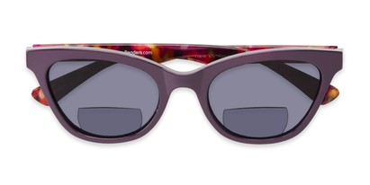 Folded of The Hale Bifocal Reading Sunglasses in Purple/Pink Tortoise with Smoke
