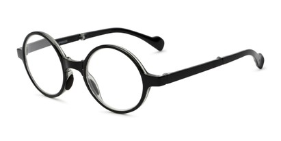 Angle of The Hance Folding Reader in Black, Women's and Men's Round Reading Glasses