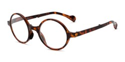 Angle of The Hance Folding Reader in Tortoise, Women's and Men's Round Reading Glasses