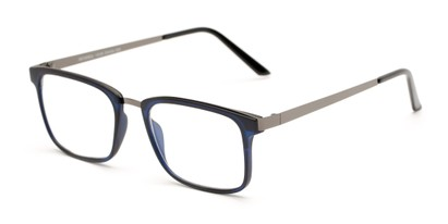 Angle of The Hank in Matte Blue, Women's and Men's Rectangle Reading Glasses