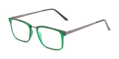 Angle of The Hank in Matte Green, Women's and Men's Rectangle Reading Glasses