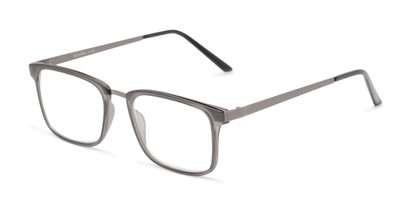 Angle of The Hank in Matte Grey, Women's and Men's Rectangle Reading Glasses