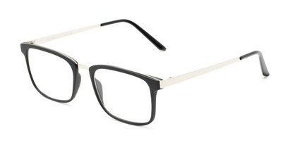 Angle of The Hank in Matte Black, Women's and Men's Rectangle Reading Glasses