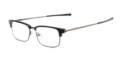 Angle of The Hanover Flat Folding Reader in Black/Grey, Women's and Men's Browline Reading Glasses