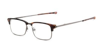 Angle of The Hanover Flat Folding Reader in Tortoise/Grey, Women's and Men's Browline Reading Glasses