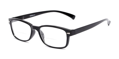Angle of The Hardy Bifocal in Black, Women's and Men's Retro Square Reading Glasses