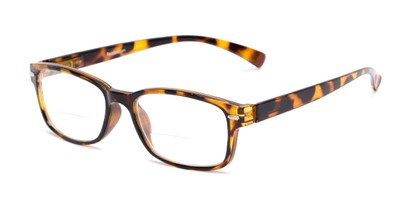 Angle of The Hardy Bifocal in Tan Tortoise, Women's and Men's Retro Square Reading Glasses