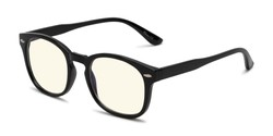 Angle of The Harley Computer Reader in Black with Light Yellow, Women's and Men's Retro Square Reading Glasses