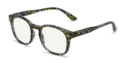 Angle of The Harley Computer Reader in Clear/Splatter with Light Yellow, Women's and Men's Retro Square Reading Glasses
