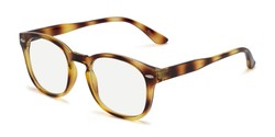 Angle of The Harley Computer Reader in Tortoise with Light Yellow, Women's and Men's Retro Square Reading Glasses
