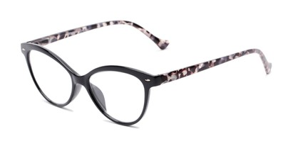 Angle of The Harlow in Black/Grey Tortoise, Women's Cat Eye Reading Glasses