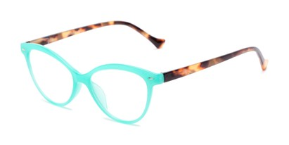 Angle of The Harlow in Green/Tortoise, Women's Cat Eye Reading Glasses