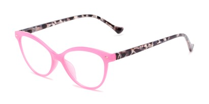 Angle of The Harlow in Pink/Grey Tortoise, Women's Cat Eye Reading Glasses