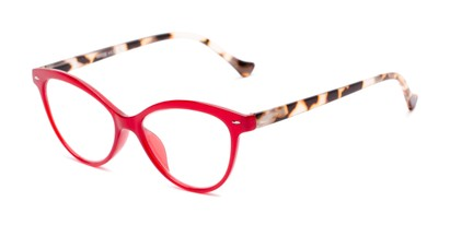 Angle of The Harlow in Red/Tortoise, Women's Cat Eye Reading Glasses