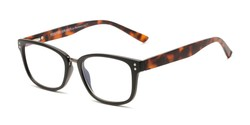 Angle of The Harvey - Foster Grant for Readers.com in Black/Brown Tortoise, Women's and Men's