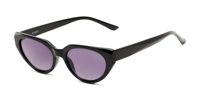 Angle of The Hattie Reading Sunglasses in Black with Smoke, Women's Cat Eye Reading Sunglasses