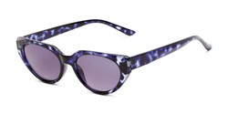 Angle of The Hattie Reading Sunglasses in Blue Tortoise with Smoke, Women's Cat Eye Reading Sunglasses