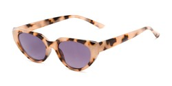 Angle of The Hattie Reading Sunglasses in Tan Tortoise with Smoke, Women's Cat Eye Reading Sunglasses