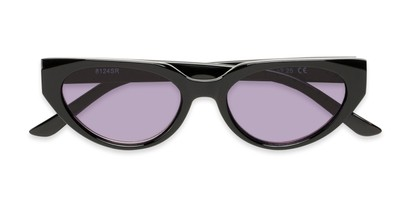 Folded of The Hattie Reading Sunglasses in Black with Smoke