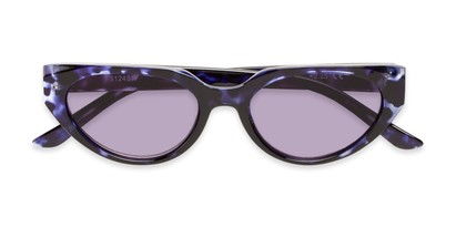 Folded of The Hattie Reading Sunglasses in Blue Tortoise with Smoke