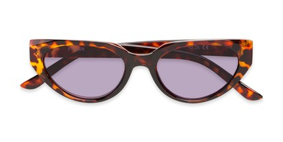 Folded of The Hattie Reading Sunglasses in Brown Tortoise with Smoke