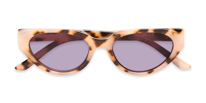 Folded of The Hattie Reading Sunglasses in Tan Tortoise with Smoke