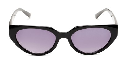 Front of The Hattie Reading Sunglasses in Black with Smoke