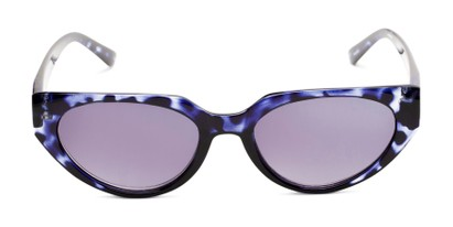 Front of The Hattie Reading Sunglasses in Blue Tortoise with Smoke