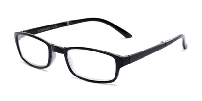 Angle of The Hawk Folding Reader in Black, Women's and Men's Rectangle Reading Glasses