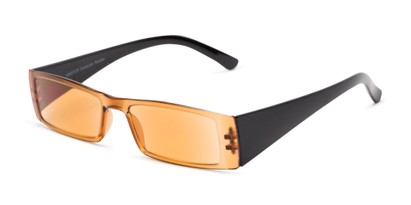 Angle of The Hayden Tinted Computer Reader in Brown/Black with Light Amber, Women's and Men's Rectangle Reading Glasses