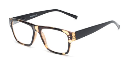 Angle of The Hazel in Tortoise/Black, Women's and Men's Retro Square Reading Glasses