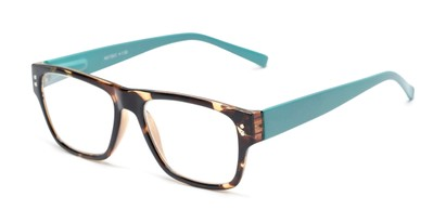 Angle of The Hazel in Tortoise/Light Blue, Women's and Men's Retro Square Reading Glasses