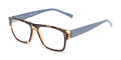 Angle of The Hazel in Tortoise/Light Purple, Women's and Men's Retro Square Reading Glasses