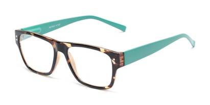Angle of The Hazel in Tortoise/Teal Green, Women's and Men's Retro Square Reading Glasses